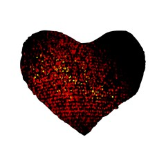 Red Particles Background Standard 16  Premium Flano Heart Shape Cushions
