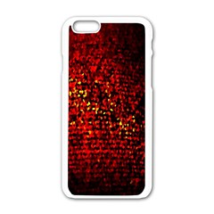 Red Particles Background Apple Iphone 6/6s White Enamel Case