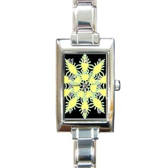 Yellow Snowflake Icon Graphic On Black Background Rectangle Italian Charm Watch