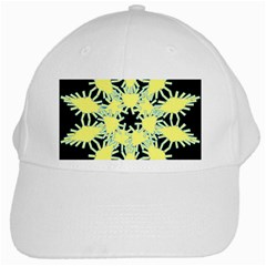 Yellow Snowflake Icon Graphic On Black Background White Cap