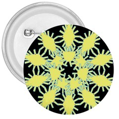 Yellow Snowflake Icon Graphic On Black Background 3  Buttons