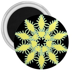Yellow Snowflake Icon Graphic On Black Background 3  Magnets
