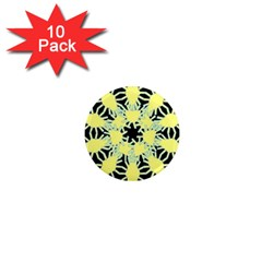 Yellow Snowflake Icon Graphic On Black Background 1  Mini Magnet (10 pack)