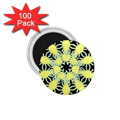 Yellow Snowflake Icon Graphic On Black Background 1.75  Magnets (100 pack)