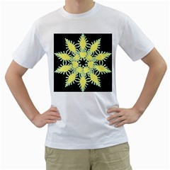 Yellow Snowflake Icon Graphic On Black Background Men s T Shirt (white) (two Sided)