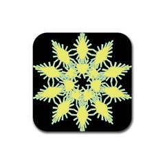 Yellow Snowflake Icon Graphic On Black Background Rubber Coaster (square)