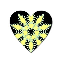 Yellow Snowflake Icon Graphic On Black Background Heart Magnet