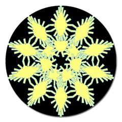 Yellow Snowflake Icon Graphic On Black Background Magnet 5  (Round)