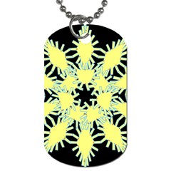 Yellow Snowflake Icon Graphic On Black Background Dog Tag (one Side)