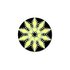 Yellow Snowflake Icon Graphic On Black Background Golf Ball Marker