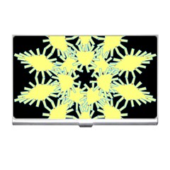Yellow Snowflake Icon Graphic On Black Background Business Card Holders