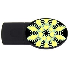 Yellow Snowflake Icon Graphic On Black Background USB Flash Drive Oval (1 GB)