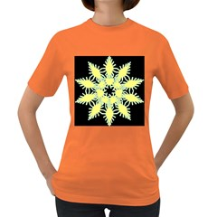 Yellow Snowflake Icon Graphic On Black Background Women s Dark T-Shirt