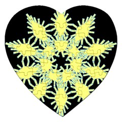 Yellow Snowflake Icon Graphic On Black Background Jigsaw Puzzle (Heart)