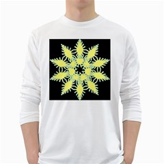 Yellow Snowflake Icon Graphic On Black Background White Long Sleeve T Shirts