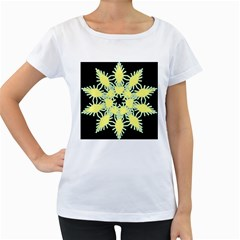 Yellow Snowflake Icon Graphic On Black Background Women s Loose Fit T Shirt (white)