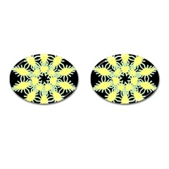 Yellow Snowflake Icon Graphic On Black Background Cufflinks (Oval)
