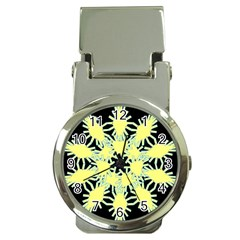 Yellow Snowflake Icon Graphic On Black Background Money Clip Watches