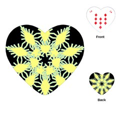 Yellow Snowflake Icon Graphic On Black Background Playing Cards (heart)