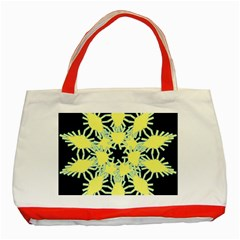 Yellow Snowflake Icon Graphic On Black Background Classic Tote Bag (red)