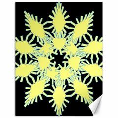 Yellow Snowflake Icon Graphic On Black Background Canvas 18  x 24