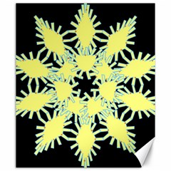 Yellow Snowflake Icon Graphic On Black Background Canvas 20  x 24
