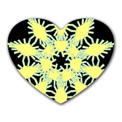 Yellow Snowflake Icon Graphic On Black Background Heart Mousepads