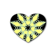 Yellow Snowflake Icon Graphic On Black Background Rubber Coaster (Heart)