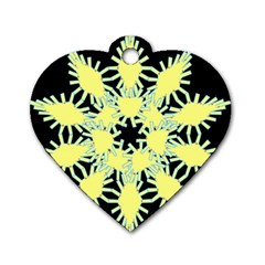 Yellow Snowflake Icon Graphic On Black Background Dog Tag Heart (Two Sides)