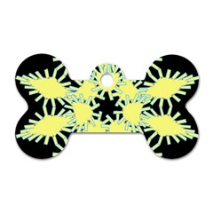 Yellow Snowflake Icon Graphic On Black Background Dog Tag Bone (One Side)