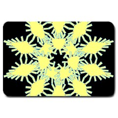 Yellow Snowflake Icon Graphic On Black Background Large Doormat