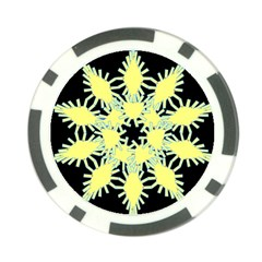 Yellow Snowflake Icon Graphic On Black Background Poker Chip Card Guard