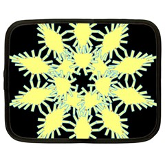 Yellow Snowflake Icon Graphic On Black Background Netbook Case (large)