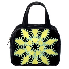 Yellow Snowflake Icon Graphic On Black Background Classic Handbags (One Side)