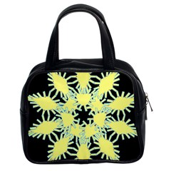 Yellow Snowflake Icon Graphic On Black Background Classic Handbags (2 Sides)