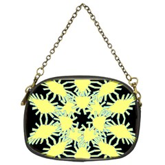 Yellow Snowflake Icon Graphic On Black Background Chain Purses (one Side)
