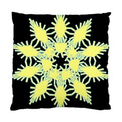 Yellow Snowflake Icon Graphic On Black Background Standard Cushion Case (Two Sides)