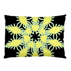 Yellow Snowflake Icon Graphic On Black Background Pillow Case