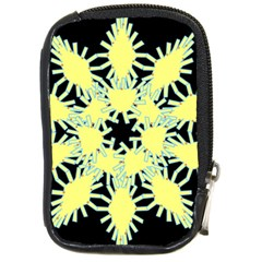 Yellow Snowflake Icon Graphic On Black Background Compact Camera Cases