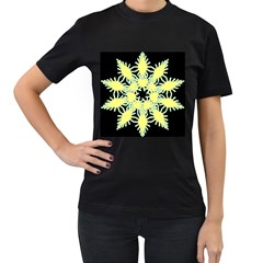 Yellow Snowflake Icon Graphic On Black Background Women s T-Shirt (Black)