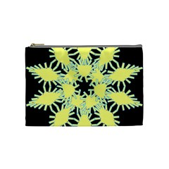 Yellow Snowflake Icon Graphic On Black Background Cosmetic Bag (Medium)