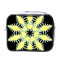 Yellow Snowflake Icon Graphic On Black Background Mini Toiletries Bags