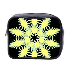 Yellow Snowflake Icon Graphic On Black Background Mini Toiletries Bag 2-Side