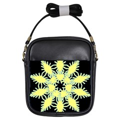 Yellow Snowflake Icon Graphic On Black Background Girls Sling Bags