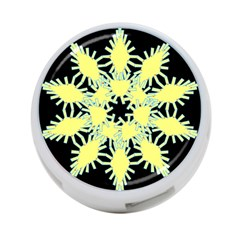 Yellow Snowflake Icon Graphic On Black Background 4 Port Usb Hub (one Side)