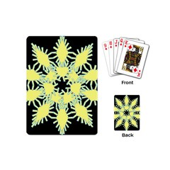 Yellow Snowflake Icon Graphic On Black Background Playing Cards (mini)