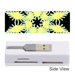 Yellow Snowflake Icon Graphic On Black Background Memory Card Reader (Stick)