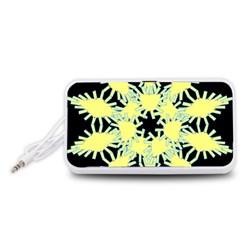 Yellow Snowflake Icon Graphic On Black Background Portable Speaker (White)