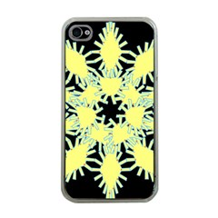 Yellow Snowflake Icon Graphic On Black Background Apple iPhone 4 Case (Clear)