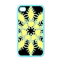 Yellow Snowflake Icon Graphic On Black Background Apple iPhone 4 Case (Color)
